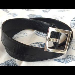 Authentic Ferragamo Gancini Embossed Leather belt